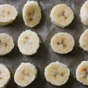 banana slices on a baking tray.