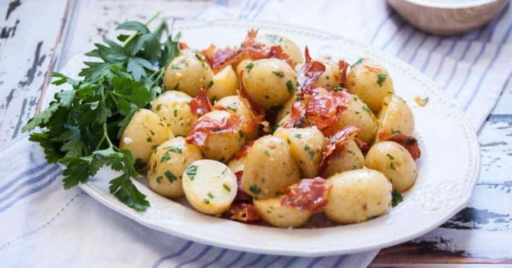 Buttery Garlic Potatoes with Crispy Prosciutto