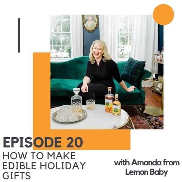 "A blonde woman sitting on a chaise lounge with text overlay ""how to make edible holiday gifts""."