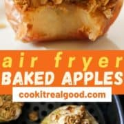"baked apple on a plate with a bite removed with text overlay ""air fryer baked apples""."
