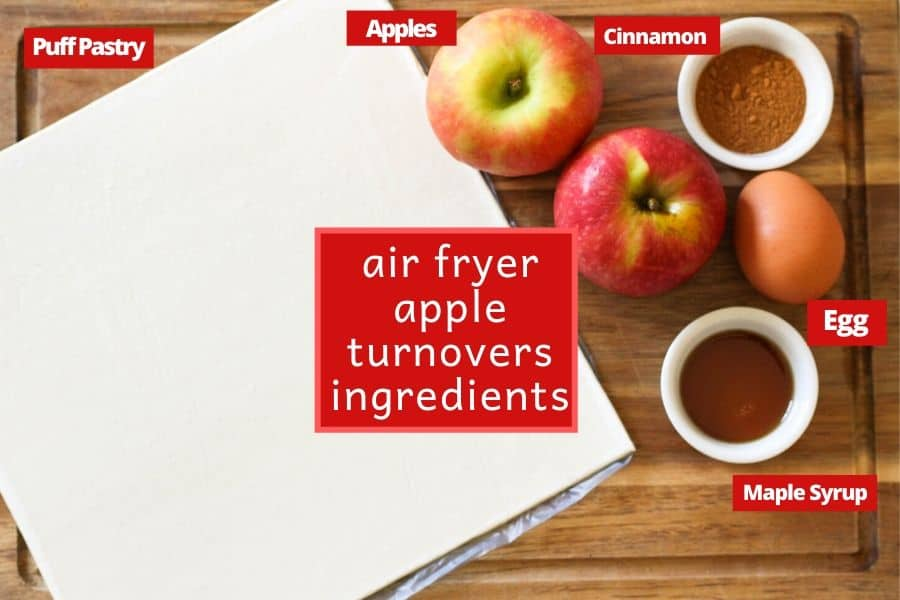 ingredient for air fryer apple turnovers on a wooden cutting board.