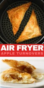 """two apple turnovers in an air fryer basket with text overlay """"air fryer apple turnovers"""""""