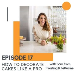 "A brunette woman leaning on a kitchen counter with text overlay ""how to decorate cakes like a pro""."