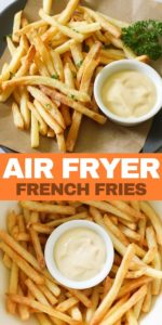 """French fries on a grey plate with a bowl of aioli with text overlay """"air fryer french fries""""."""