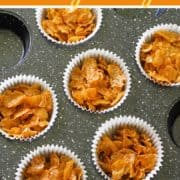 "honey joys in a muffin tray with text overlay ""honey joys""."