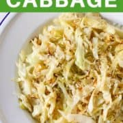 sauteed cabbage in a white bowl.