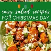 """images of salads with text overlay """"easy salad recipes for Christmas day""""."""