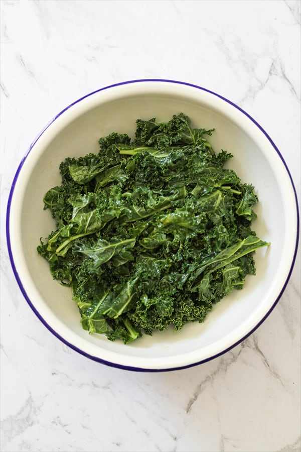 bowl of massaged kale.