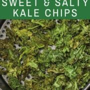 sweet & salty kales chips in an air fryer basket.