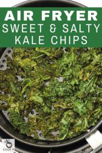 sweet & salty kales chips in an air fryer basket.