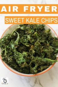 sweet and salty kale chips in a white bowl.
