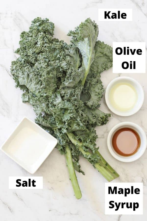 kale chips ingredients on a marble background.