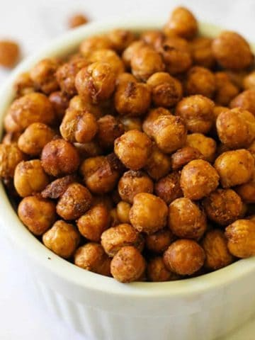 crispy chickpeas in a white bowl.
