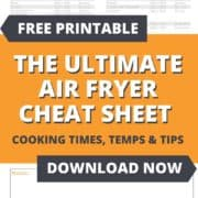 "Image of a chat with text overlay ""The ultimate air fryer cooking chart""."
