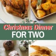 """multiple images of roast dinner with text overlay """"christmas dinner for two""""."""