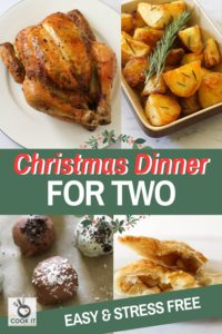 "multiple images of roast dinner with text overlay ""christmas dinner for two""."