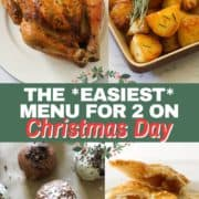 """multiple images of roast dinner with text overlay """"the easiest menu for 2 on christmas day""""."""