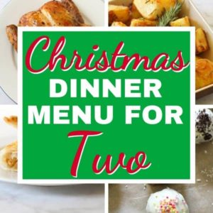 "multiple images of roast dinner with text overlay ""christmas dinner menu for two""."
