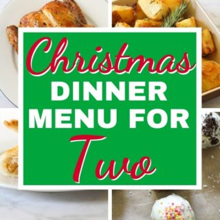 """multiple images of roast dinner with text overlay """"christmas dinner menu for two""""."""