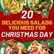 """collage of salads with text overlay """"20 delicious salads you need for christmas lunch"""""""