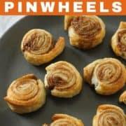 cinnamon pinwheels on a grey plate.