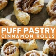 "cinnamon rolls on a baking tray with text overlay ""puff pastry cinnamon rolls""."