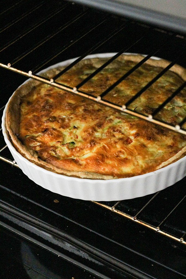 vegetarian quiche in the oven.