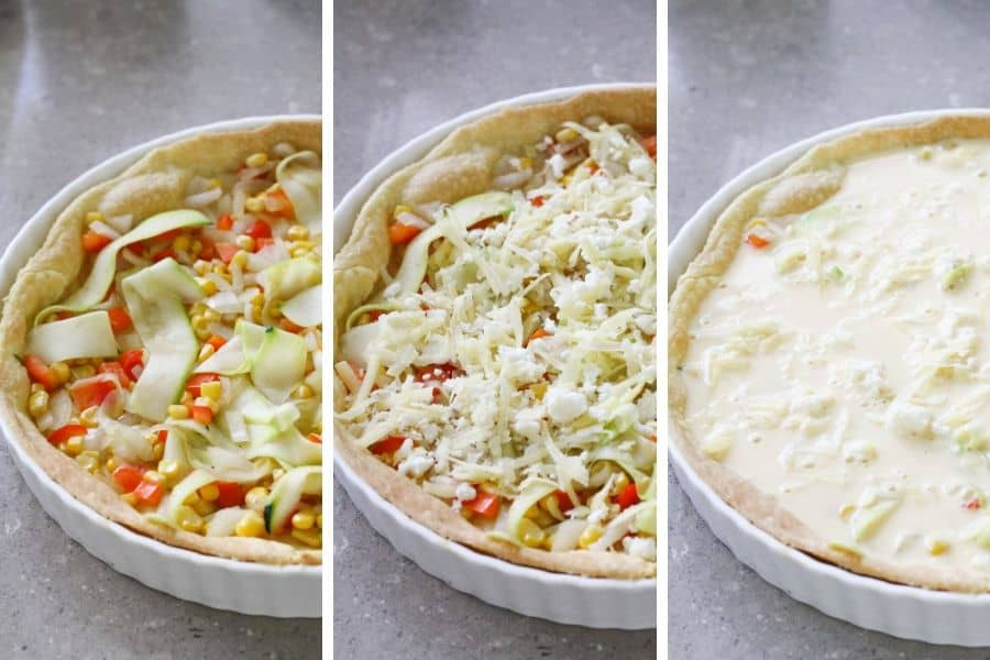 step by step photo instructions on how to assemble quiche
