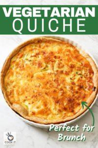 vegetarian quiche in a white quiche dish.