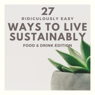 27 ridiculously easy ways to live sustainably written on a white background.