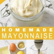 mayonnaise in a glass jar.