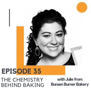 """headshot of a brunette woman with text overlay """"episode 35 - the chemistry behind baking""""."""