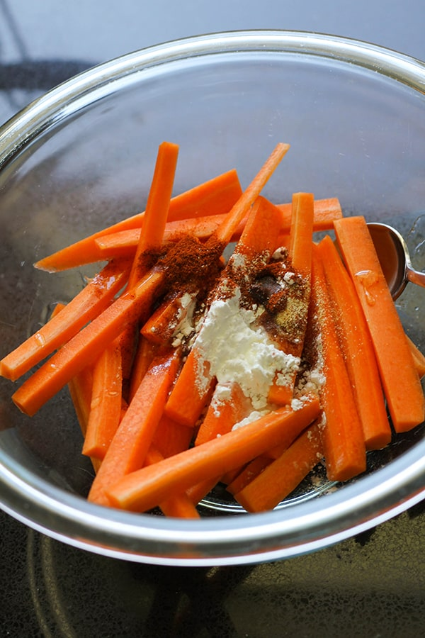 carrot fries in a glass bowl.