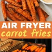 air fryer carrot fries on a white plate.