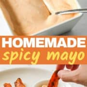 spicy mayonnaise in a square serving dish.