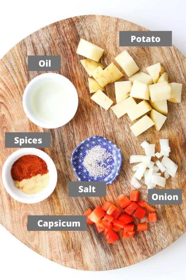 recipe ingredients on a wooden board.