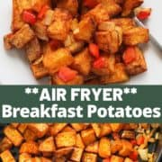 """image of finished dish with text overlay """"air fryer breakfast potatoes""""."""