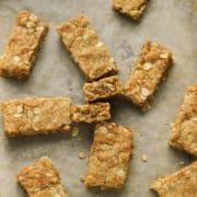 anzac slice pieces on a baking tray.