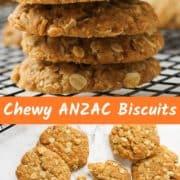 chewy anzac biscuits on a wire rack.
