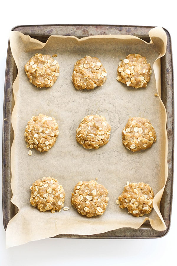 unbaked biscuits on a baking tray.
