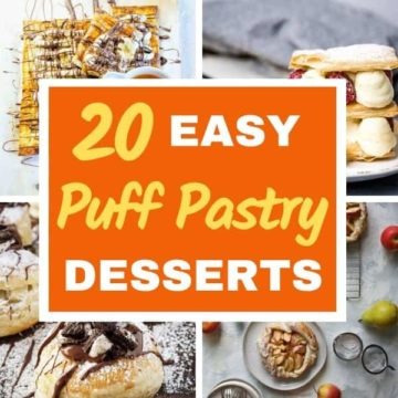 "multiple images of puff pastry desserts with text overlay ""20 easy puff pastry desserts""."