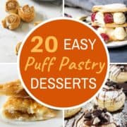 """multiple images of puff pastry desserts with text overlay """"20 easy puff pastry desserts""""."""