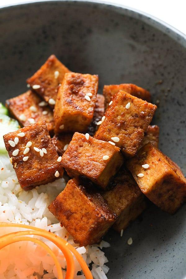 cubes of sriracha tofu.