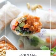 "rice paper rolls on a white plate with text overlay ""vegan rice paper rolls""."