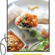 "rice paper rolls on a white plate with text overlay ""tofu rice paper rolls""."