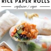 "rice paper rolls on a white plate with text overlay ""tofu + veggie rice paper rolls""."