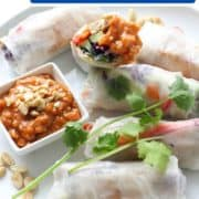 "rice paper rolls on a white plate with text overlay ""tofu & veggie rice paper rolls""."