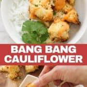 bang bang cauliflower on top of a bed of rice.