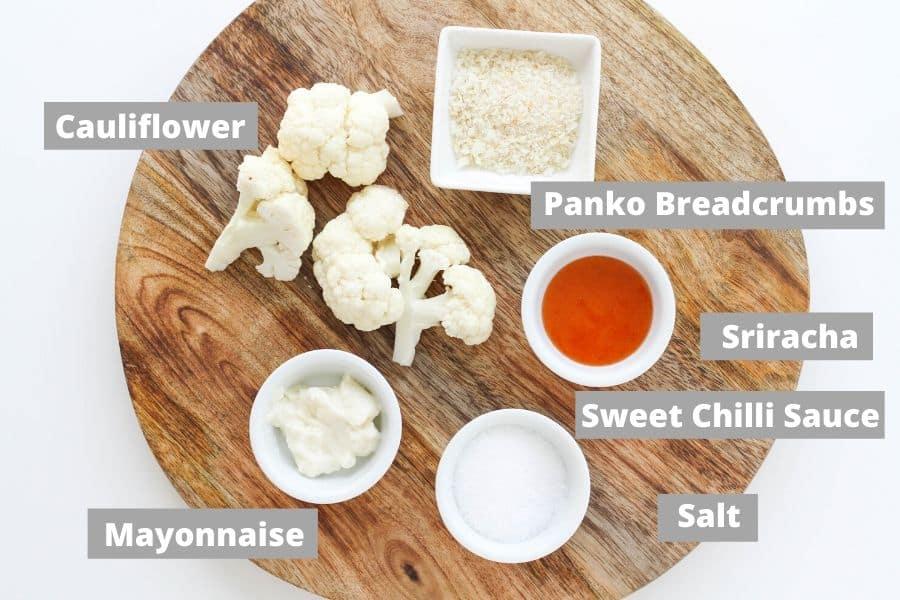 ingredients on a wooden board.