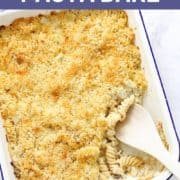 baked pasta bake in a white serving dish.